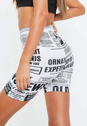 Missguided White Newspaper Print Biker Shorts