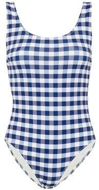 Solid & Striped Open-Back Gingham Swimsuit