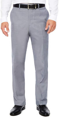 Jf J.Ferrar Men's Stretch Gray Blue Sharkskin Flat-Front Slim Fit Pant