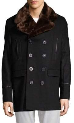Karl Lagerfeld Faux Fur Collar Double-Breasted Wool Blend Coat
