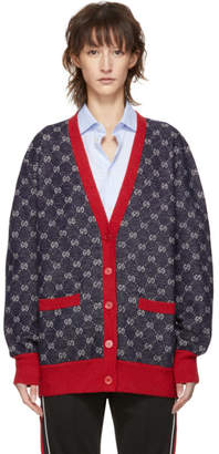 Gucci Navy and Red GG Cardigan