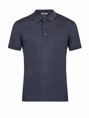 Bottega Veneta Contrast-collar silk-piqué polo shirt