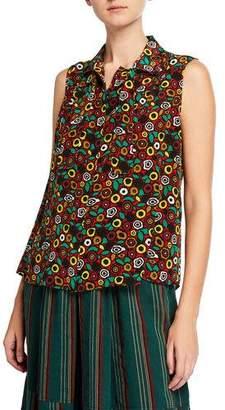 819d8ed6163d68 Aspesi Sleeveless Bow-Neck Button-Front Patterned Silk Blouse
