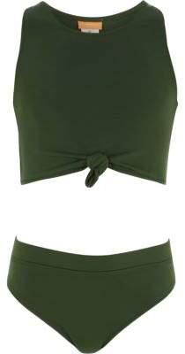 River Island Girls khaki green knot front bikini