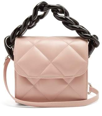 Marques Almeida Marques'almeida - Oversized Curb Chain Quilted Leather Shoulder Bag - Womens - Light Pink