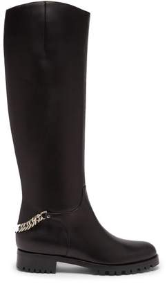 Christian Louboutin Croche Cate Knee High Leather Riding Boots - Womens - Black