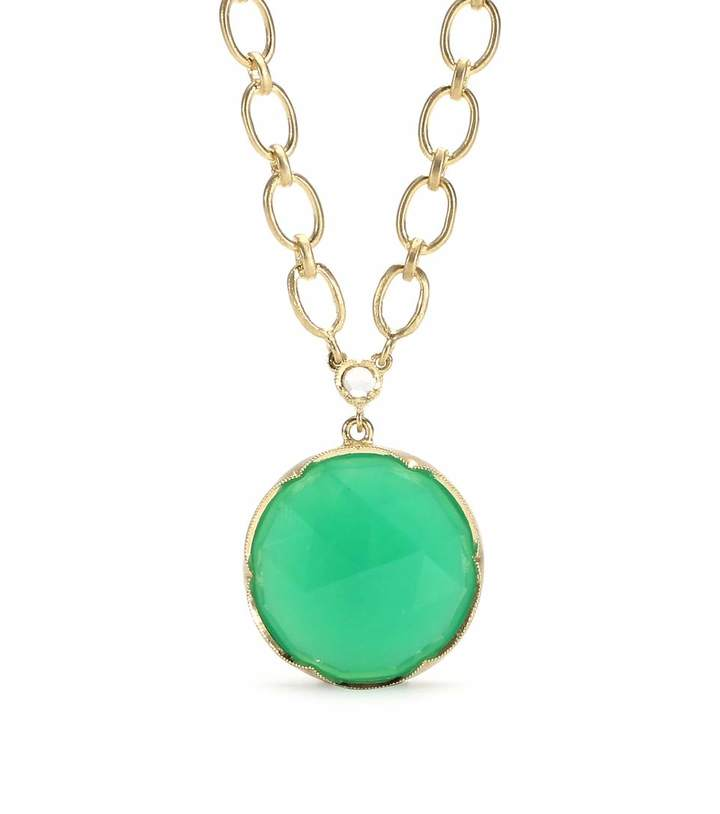 Irene Neuwirth 18KT YELLOW GOLD NECKLACE WITH ROSE CUT CHRYSOPRASE AND WHITE DIAMOND