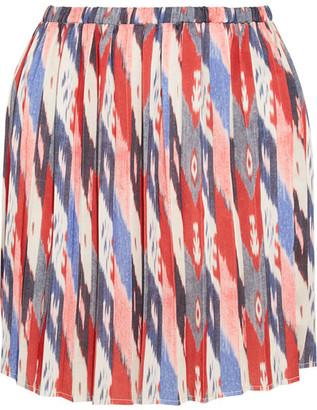 Étoile Isabel Marant - Hanoi Pleated Printed Satin Mini Skirt - Burgundy $275 thestylecure.com