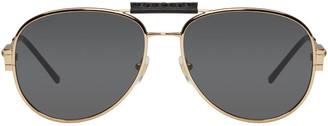 Versace Gold Aviator Sunglasses $270 thestylecure.com