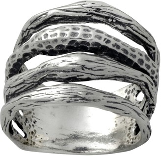 Or Paz Sterling Textured Multi-Row Band Ring