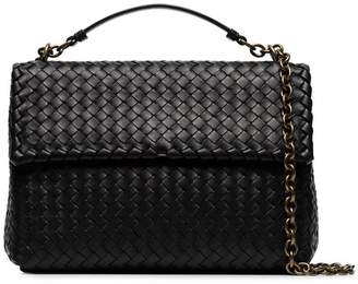 Bottega Veneta black Olympia intrecciato leather shoulder bag