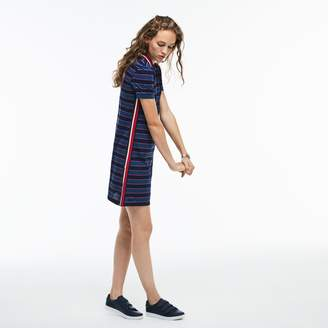 Lacoste Women's Contrast Bands Striped Pique Polo Dress