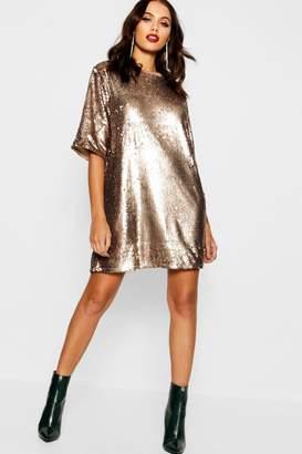 boohoo Matte Sequin Oversized T-Shirt Dress
