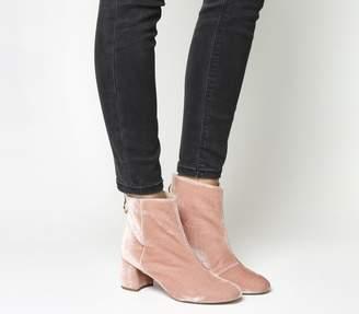 bb09716b940 Office Arch Enemy Block Heel Boots Blush Velvet