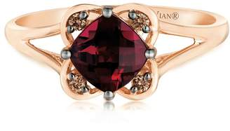 Chocolate By Petite Le Vian 14ct Strawberry Gold Raspberry Rhodolite & Diamond Ring