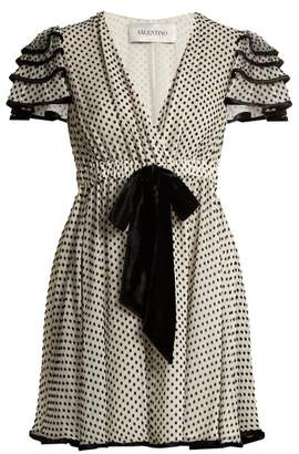 Valentino Polka Dot Silk Georgette Dress - Womens - White Black