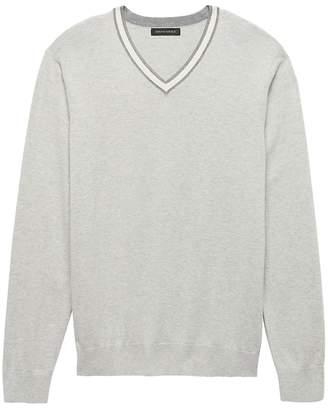Banana Republic Silk Cotton Cashmere Varsity V-Neck Sweater