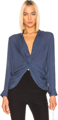 L'Agence Mariposa Blouse in Sea Blue | FWRD