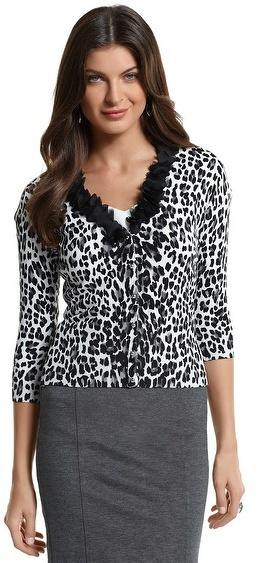 White House Leopard Ruffle Cardigan