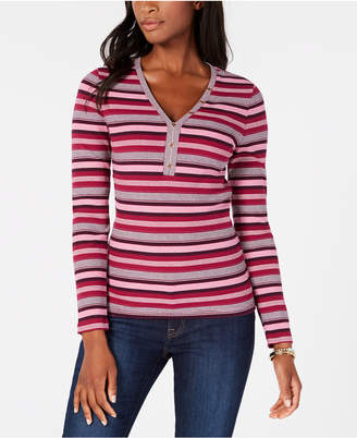Tommy Hilfiger Striped Henley Top, Created for Macy's