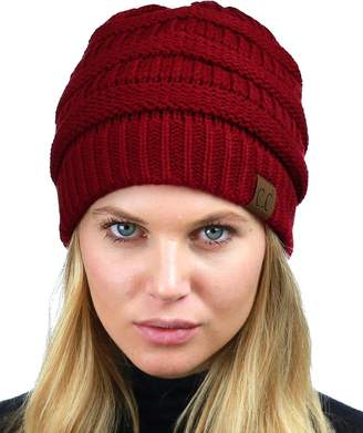 be71ab288a7 C.C Unisex Chunky Soft Stretch Cable Knit Warm Fuzzy Lined Skully Beanie