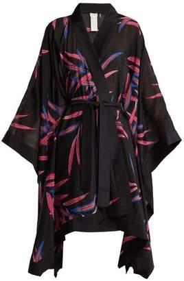 Diane Von Furstenberg - Fern Print Cotton And Silk Blend Kimono Robe - Womens - Black Multi