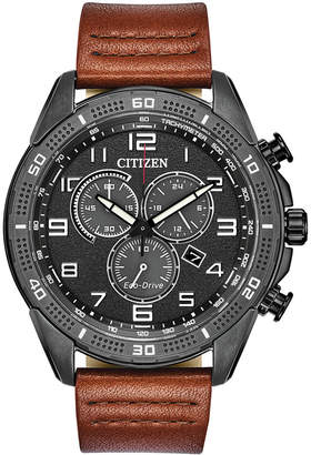 Citizen Drive From Eco-Drive Men Ltr Brown Leather Strap Watch 45mm