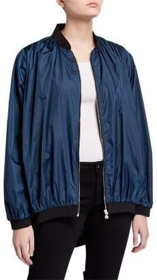 Chiara Boni Oversized Zip-Front Bomber Jacket