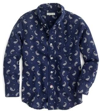 J.Crew crewcuts by Paisley Print Cotton & Linen Dress Shirt