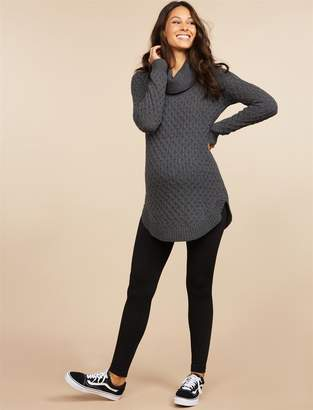 Motherhood Maternity Cable Knit Over The Belly Fleece Maternity Leggings