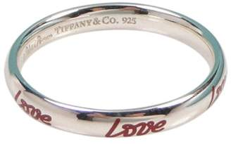 Tiffany & Co. Picasso Graffiti Love Band Silver & Red Enamel Ring
