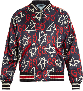 GUCCI GucciGhost-print satin bomber jacket $2,480 thestylecure.com