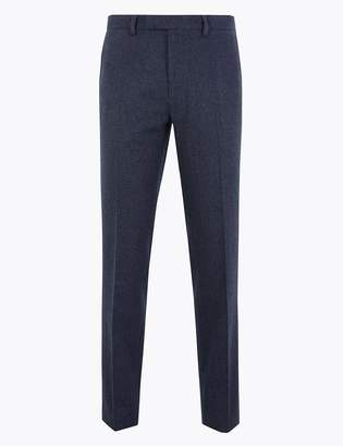 Marks and Spencer Slim Fit Wool Blend Flannel Trousers