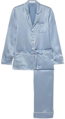 Olivia von Halle - Coco Silk-satin Pajama Set - Blue