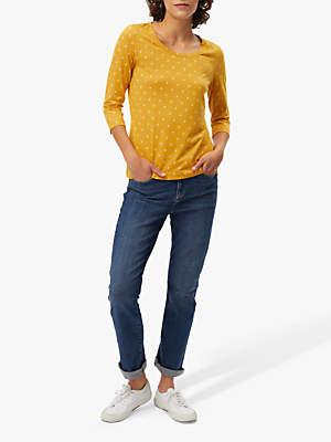 White Stuff Sally Jersey T-Shirt, Buttercup Yellow Print