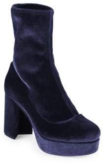 Miu Miu Stretch Velvet Platform Booties