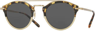 Oliver Peoples Remick Monochromatic Brow-Bar Sunglasses, Off White/Tortoise