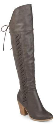 Brinley Co. Women's Distressed Faux Leather Faux Lace-up Over-the-knee Boots