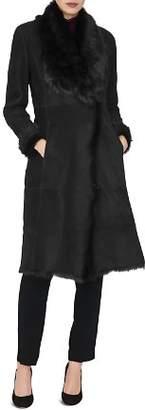 LK Bennett L.K.Bennett Raphela Leather & Real Lamb Shearling Coat