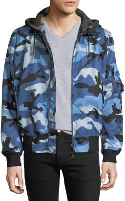 Valentino Men's Oversized Camo-Print Bomber Jacket with Removable Hood