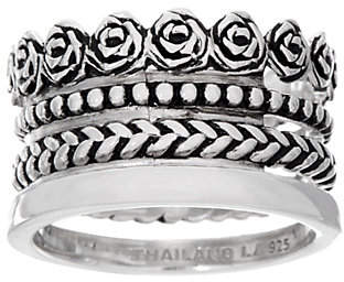 Sterling 4 Row Textured and Polished Band Ringby Silver Style