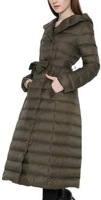 Lukitty Women's Long Down Coat Lightweight Hooded Maxi Puffer Jacket Parka L