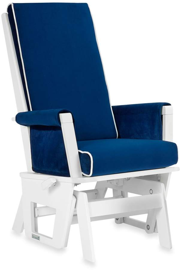 Dutailier Contemporary Wood Glider in White/Royal Blue