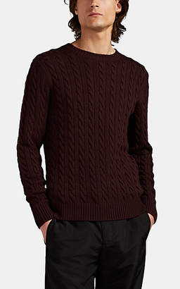 Eleventy Men's Cable-Knit Wool Sweater - Dark Red