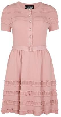 Moschino Pink Ruffle-trimmed Stretch-knit Dress