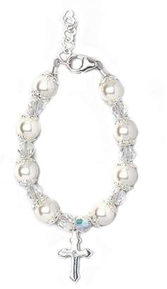 Silver Cross Crystal Dream Christening Sterling Charm Keepsake Luxury Girl Baby Bracelet with Swarovski Simulated Pearls and Crystals (BBCCR_S+)