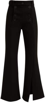 A.W.A.K.E. Mode A.w.a.k.e. Mode - Buttoned Slit Cuff Kick Flare Trousers - Womens - Black
