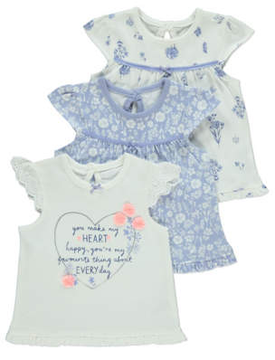 George Blue Floral Slogan T-Shirts 3 Pack