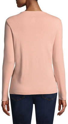 ST. JOHN'S BAY Long Sleeve V- Neck T-Shirt - Tall