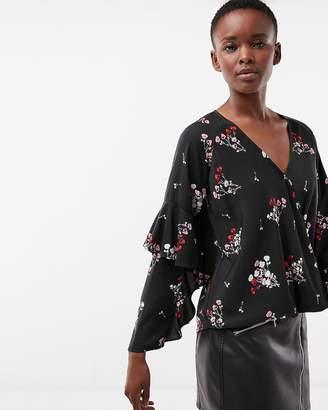 Express Petite Floral Surplice Satin Ruffle Sleeve Blouse